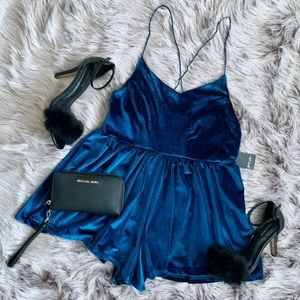 NASTYGAL | NWT Blue Velvet Romper Playsuit
